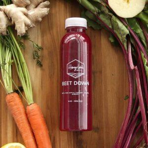 beet down juice bottle from honey land juice co