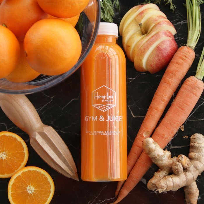 gym and juice juice bottle from honey land juice co