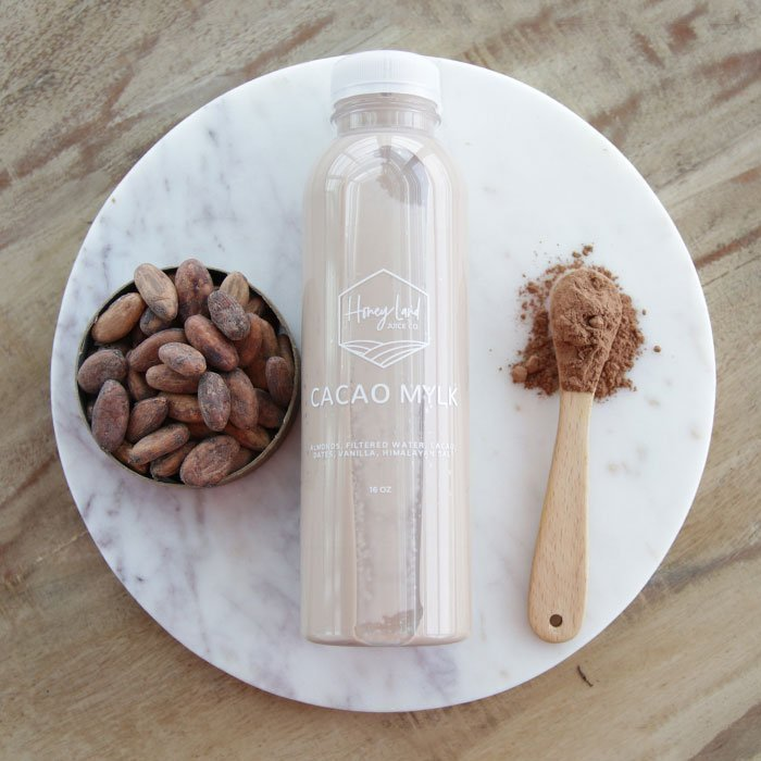 cacao mylk bottle from honey land juice co