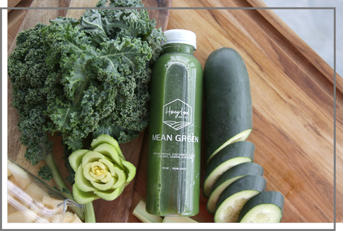 mean green juice bottle from honey land juice co